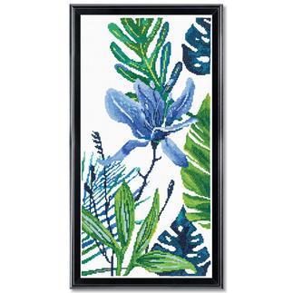 Kreuzstichbild - Blue Flower I