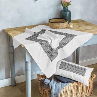 Tischdecke und Kissenhülle - Geometrische Blumen