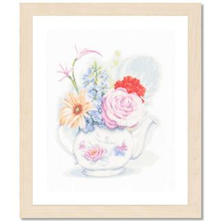 Kreuzstichbild - Blumen in Teekanne