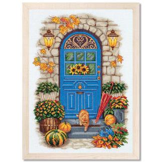 Stickbild - Herbst vor der Tür