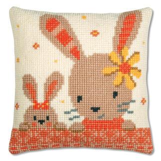 Kreuzstichkissen - Süße Kaninchen