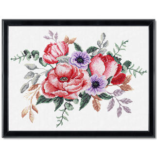 Stickbild - Elegantes Bouquet No count cross stitch