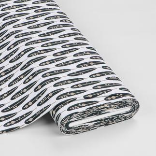 Meterware Baumwoll-Jersey - Federn Black & White