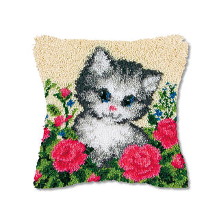 Knüpfkissen - Katze im Garten