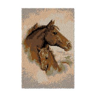 Wandbehang - Pferd mit Fohlen Wandbehänge aus Reiner Schurwolle.