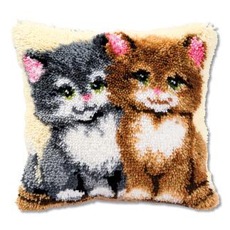 Knüpfkissen - Zwei Kätzchen