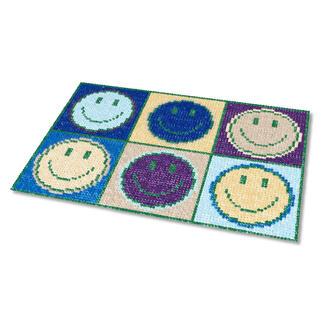 Kreuzstich-Fußmatte - Don`t worry, Blau Gestickte Fußmatten - besonders strapazierfähig