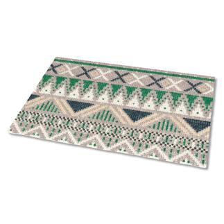 Kreuzstich-Fußmatte - Falun, Beige Gestickte Fußmatten - besonders strapazierfähig