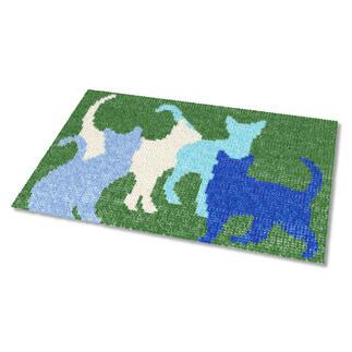 Kreuzstich-Fußmatte - Katzenheim, Blau Gestickte Fußmatten - besonders strapazierfähig
