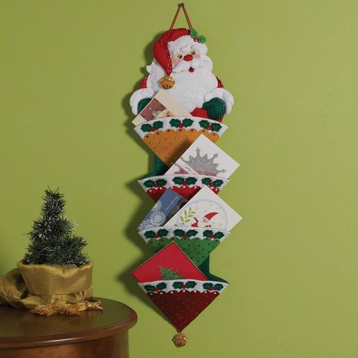Weihnachtlicher Kartenhalter aus Filz