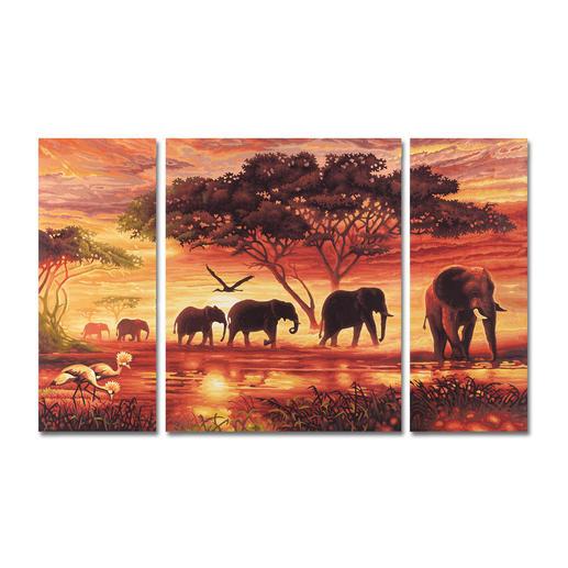Malen nach Zahlen - Triptychon Elefanten Karawane