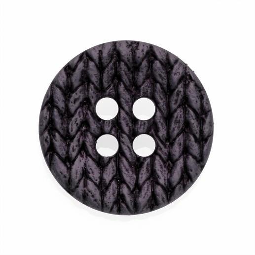 Knopf Strickoptik, Grau/Lila, Ø 25mm, 2 Stück
