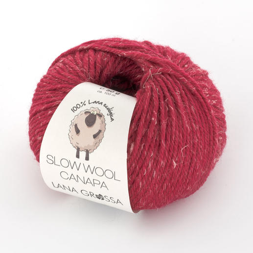 Slow Wool Canapa von Lana Grossa - % Angebot %, Rotpink