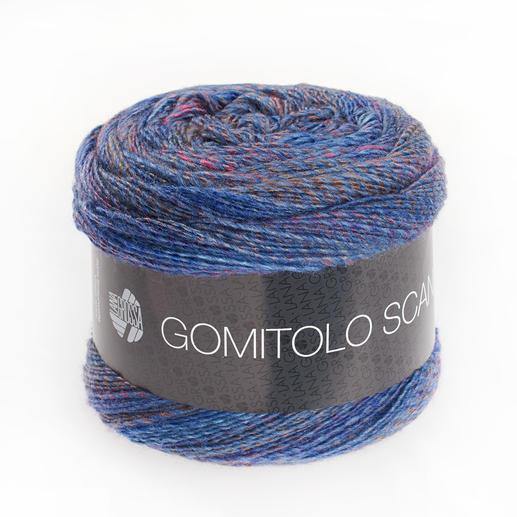 Gomitolo Scandic von Lana Grossa, Blau/Rot/Braun meliert
