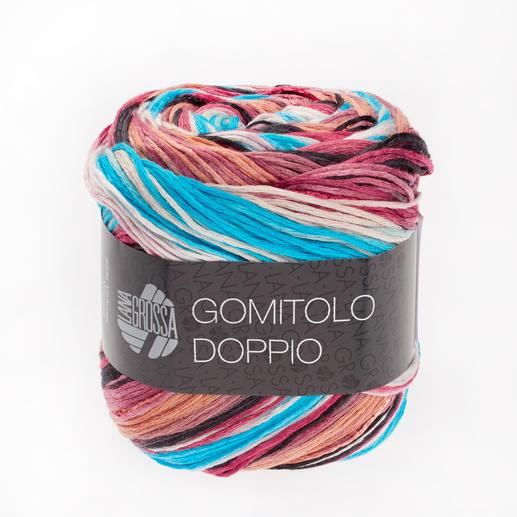 Gomitolo Doppio von Lana Grossa, 255 Lachs/Pink/Antikviolett/Blau/Brombeer/Türkis - dünne Streifen