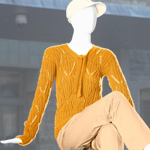 Anleitung 609/3, Ajourmuster Pullover mit Schleife aus Merino-Cotton von Junghans-Wolle