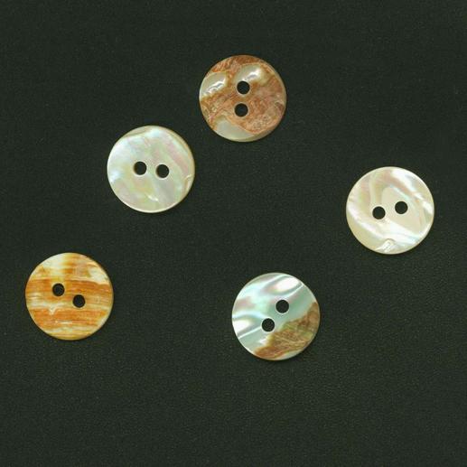 Perlmuttknopf, Beige, Ø 15 mm, 1 Stück