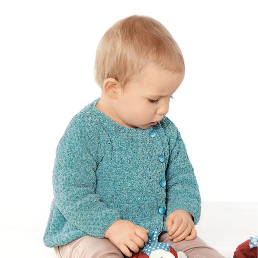 Anleitung 442/8, Babyjacke aus Velvet Fine von Katia