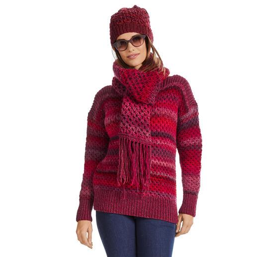Anleitung 110/0, Pullover, Schal und Mütze aus Scala und Cassandra von Junghans-Wolle