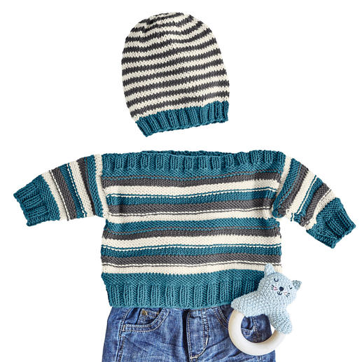 Anleitung 133/0, Babypulli und Mütze aus Merino-Cotton von Junghans-Wolle