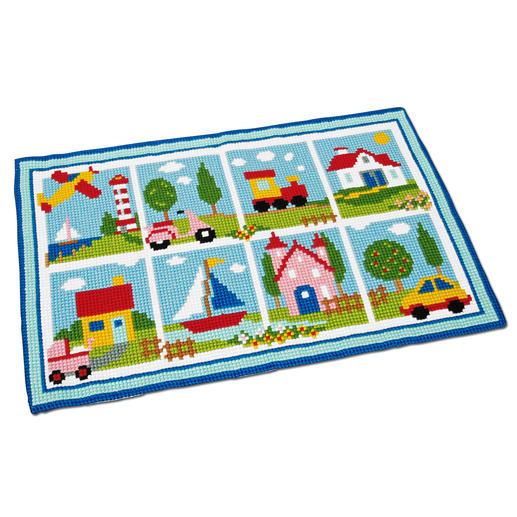 Farbenfroher Kreuzstich-Teppich
