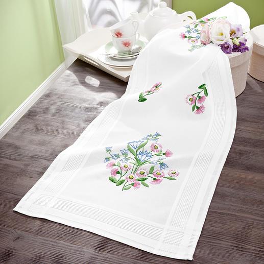 Tischläufer mit eingewebtem Zierrand - Glockenblumen