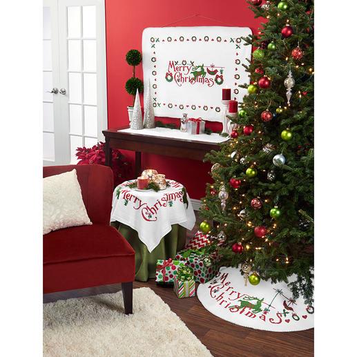 Fleece-Christbaumdecke - Merry Christmas