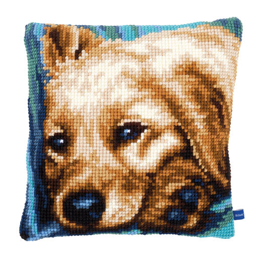 Hunde-Kreuzstichkissen - Gina