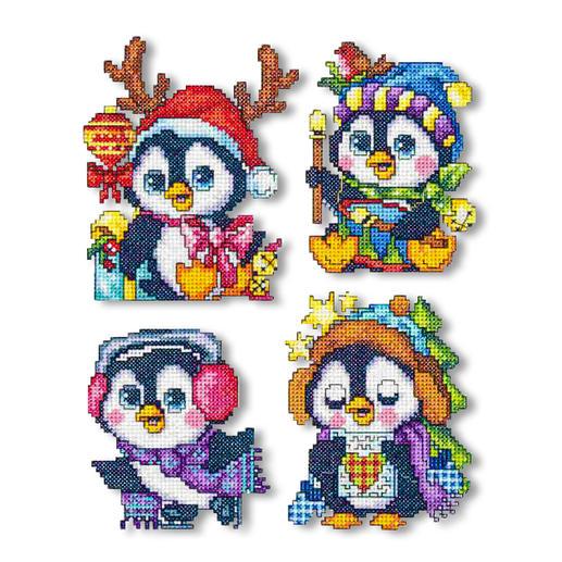 4 Weihnachtsanhänger im Set - Pinguine