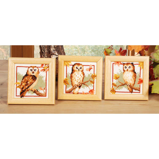 3 Miniaturen im Set - Eulen im Herbst