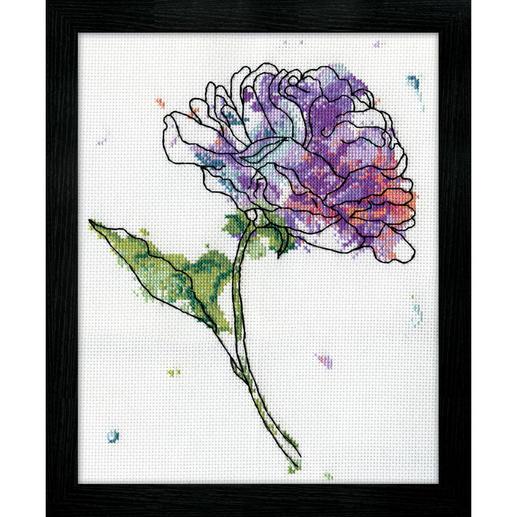 Kreuzstichbild - Lilac Floral / Pfingstrose