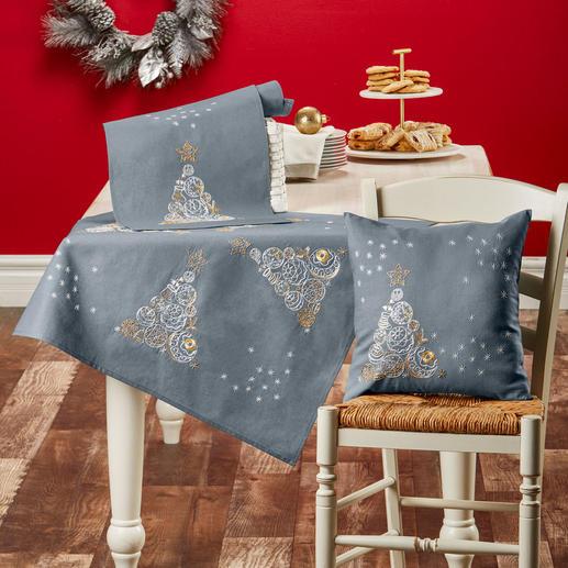 Edler Weihnachtsbaum Tischdecke, Tischläufer oder Kissen