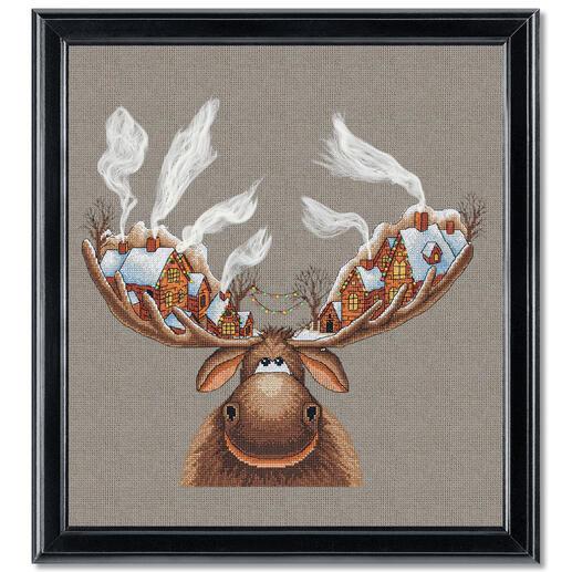 Stickbild - Weihnachtselch