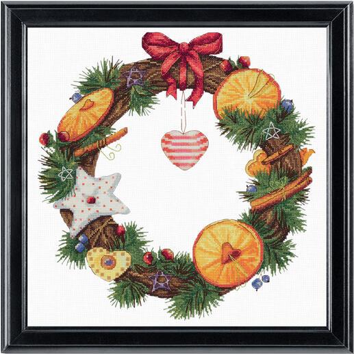Stickbild - Kranz mit Zimt und Orangen