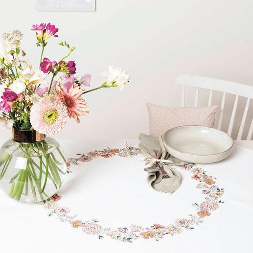 Kreuzstich-Tischdecke - Blumenkranz