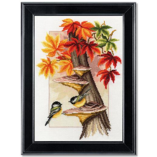 Kreuzstichbild - Meisen zwischen Herbstlaub