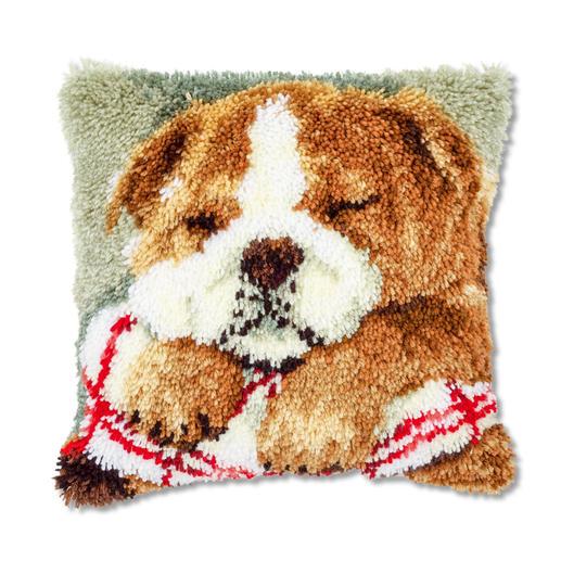Knüpfkissen - Schlafender Hund 2