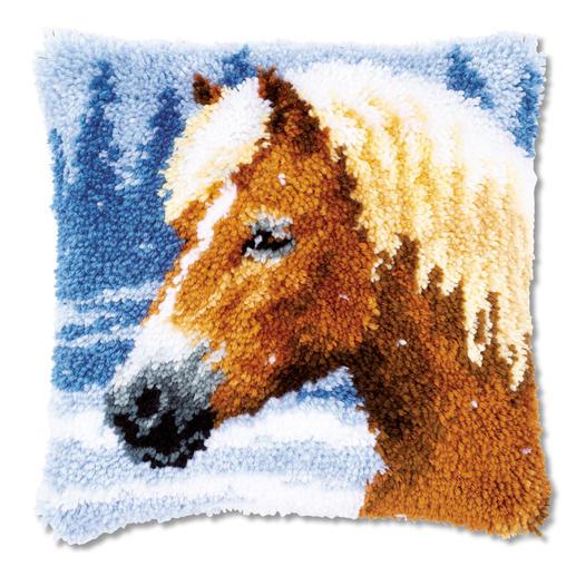 Knüpfkissen - Pferd im Schnee